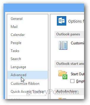Outlook Enable or Disable reminder sounds : Click Advanced