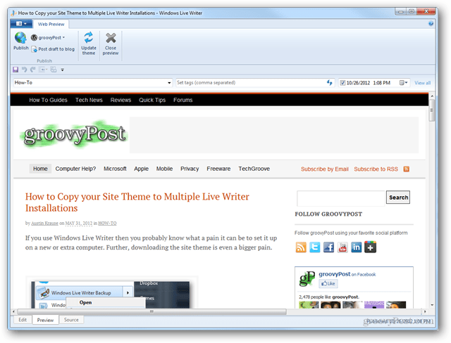 site theme preview live writer