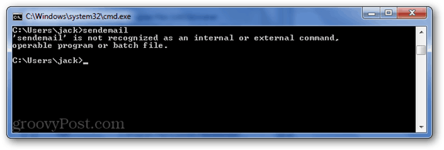 cli error: sendemail is not recognized as an internal or external command, operable program or batch file