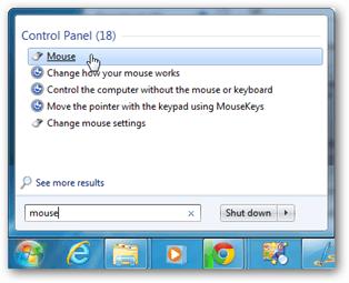 windows 7 mouse settings