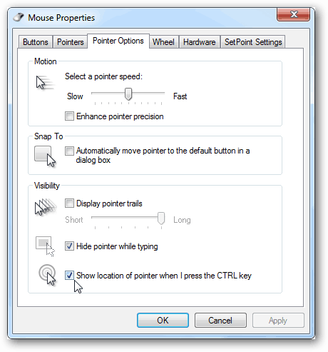 mouse pointer options show location