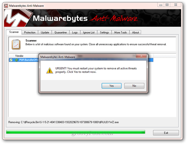 malwarebytes reboot after removal
