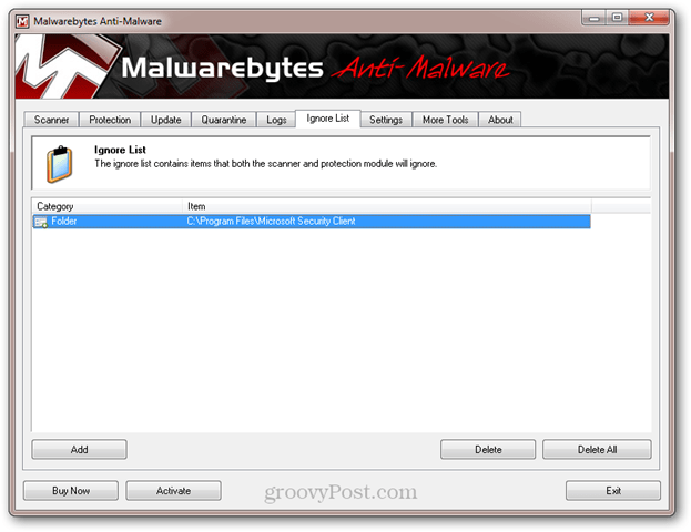 malwarebytes ignore list
