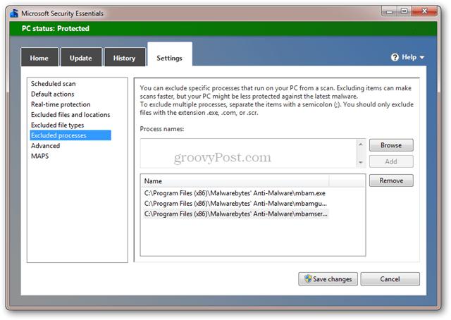 Microsoft Security Essentials and Malwarebytes