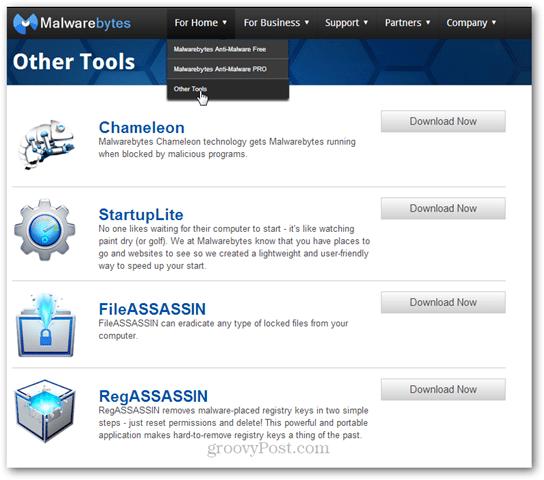 malwarebytes other tools chameleon startuplite fileassassin regassassin