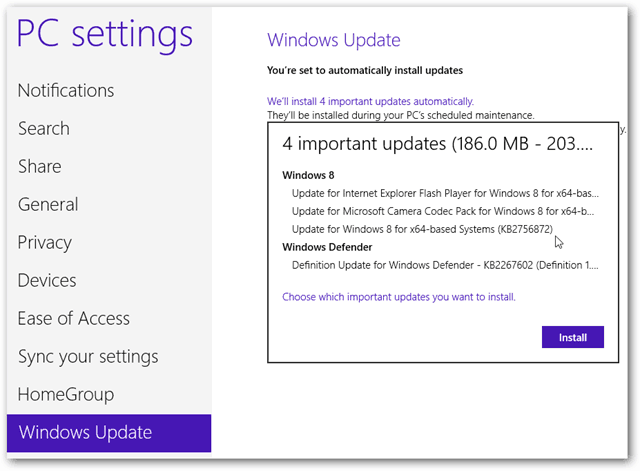 Major Windows 8 updates