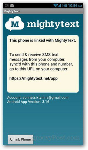 mightytext android screen