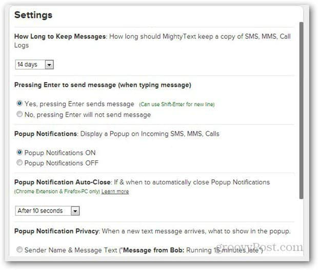 mightytext browser settings