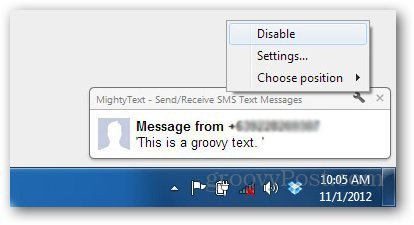 mightytext popup disable