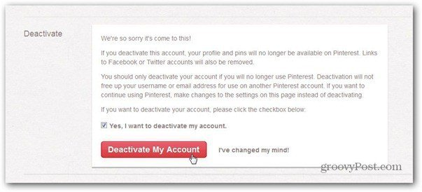 pinterest deactivate confirmation
