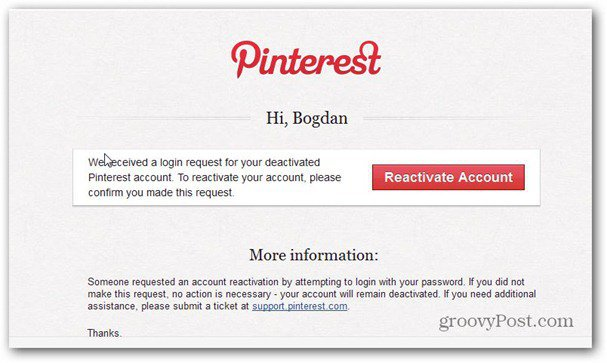 pinterest reactivate account