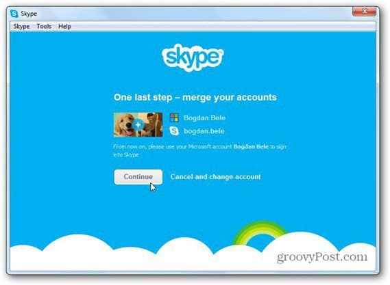skype merge with microsoft account