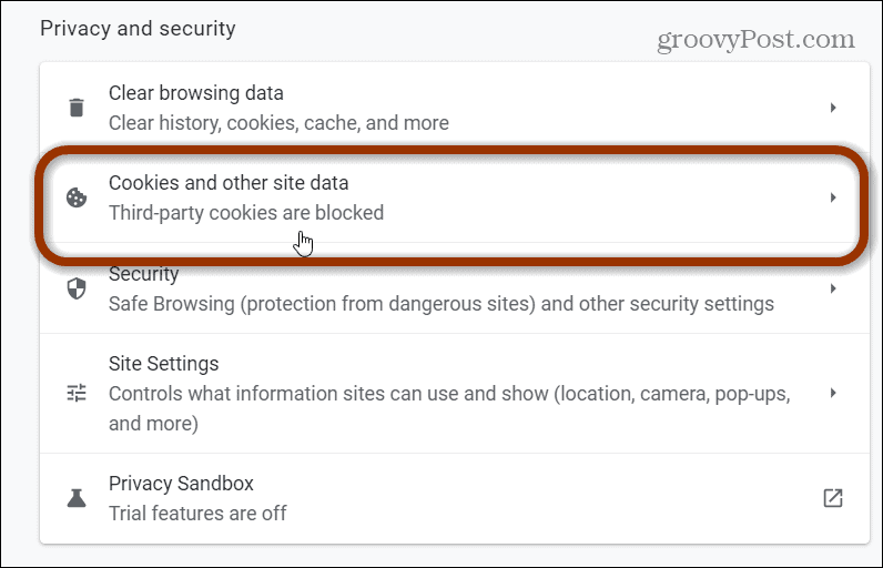 cookies and other site data