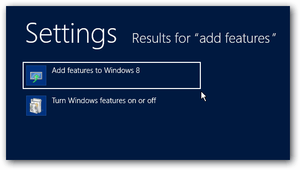 Add Features to Windows 8