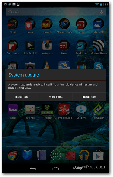 Android System Update Message