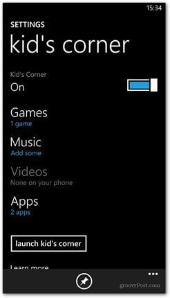 Kids Corner switch on