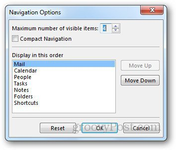 Navigation Pane Outlook 3
