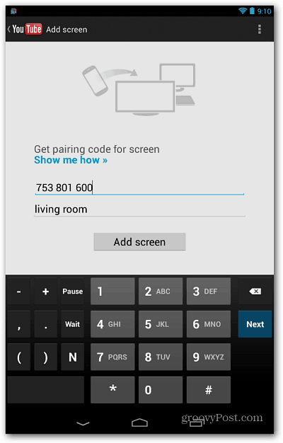 Nexus 7 Add Screen