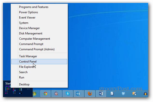 Power User Menu Control Panel