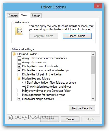 Show Hidden Files Folders and Drives