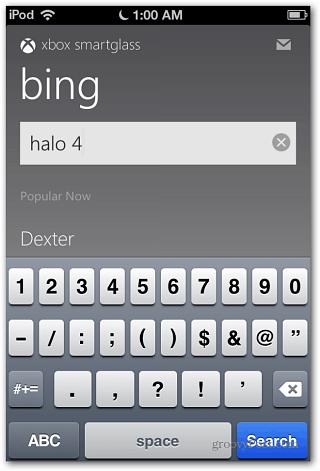 SmartGlass Bing Search iOS