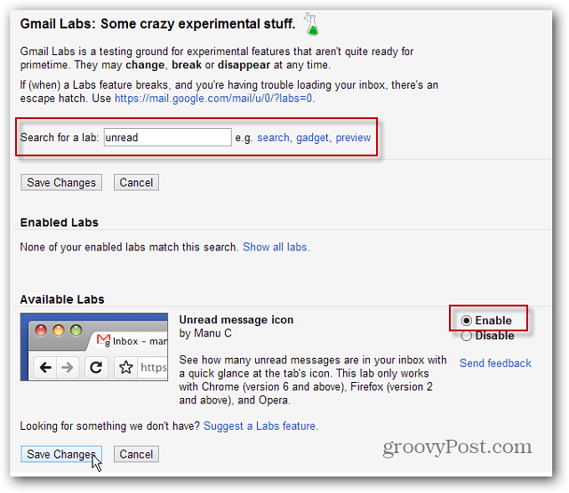 Make the Gmail Tab Display an Unread Messages Counter
