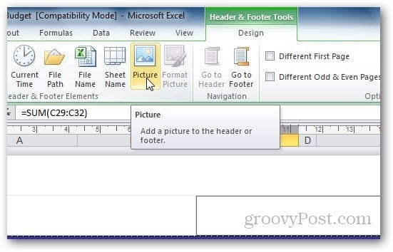 how to get rid of a watermark in excel