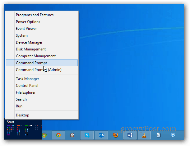 Windows 8 Power Menu