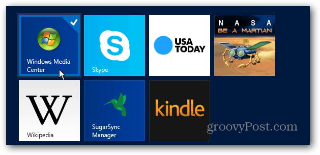 Windows Media Center Tile