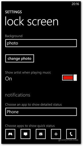 Windows Phone 8 customize lock screen options