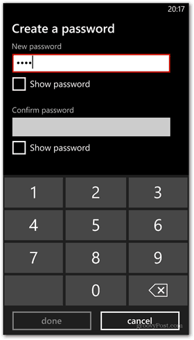 Windows Phone 8 customize lock screen password set