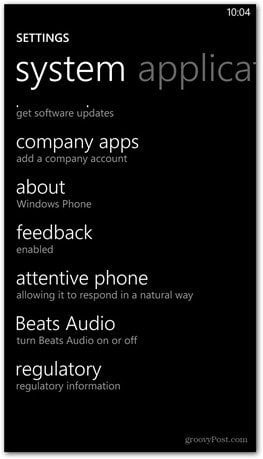 Windows Phone 8 master reset about
