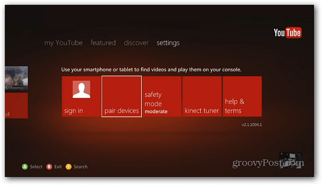 Xbox 360 YouTube App Settings