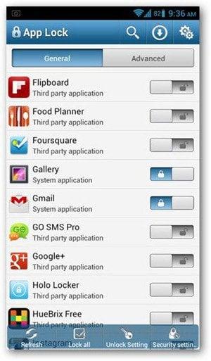 app lock app list