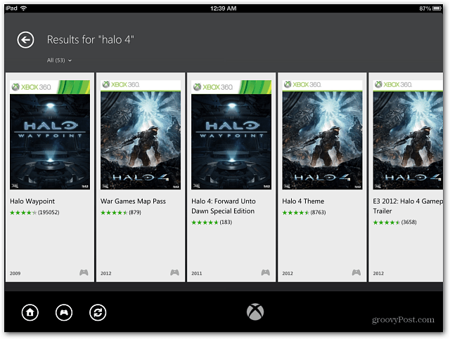 iPad Xbox SmartGlass Games