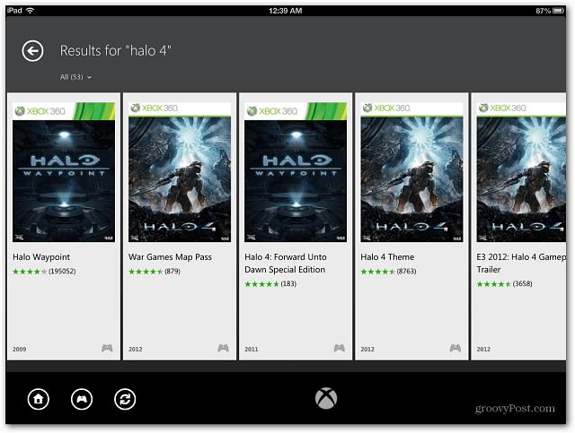 iPad Xbox SmartGlass Games
