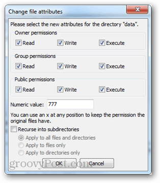 read write execute permissions config