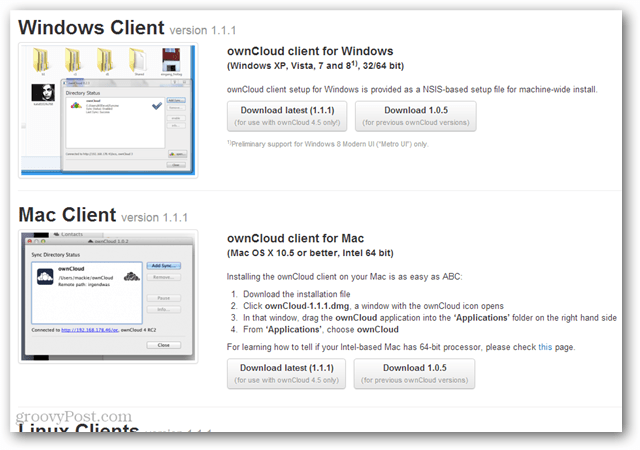 owncloud sync clients