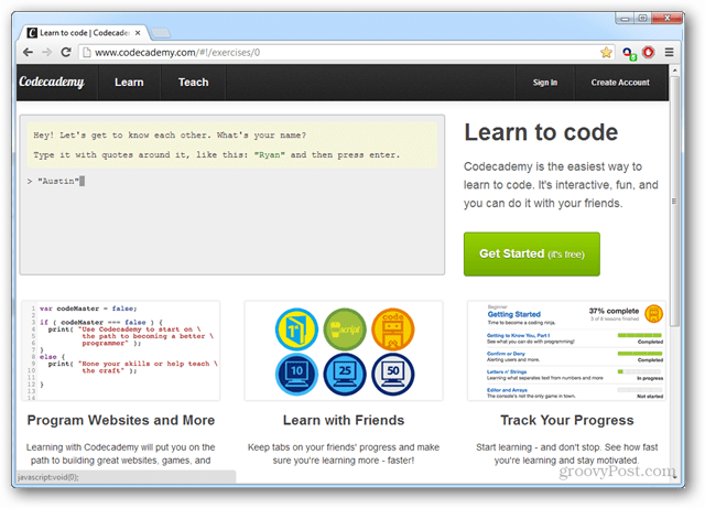 home page learning javascript