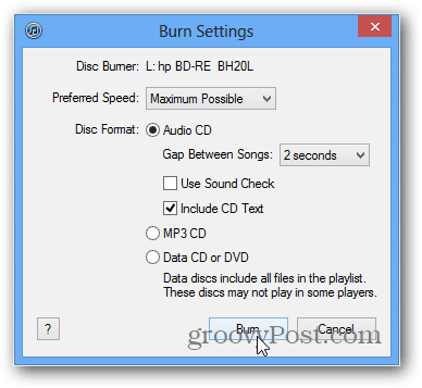 select rip or burn options