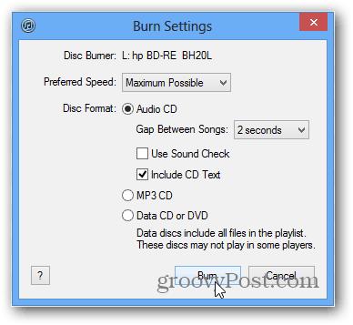select rip or burn options
