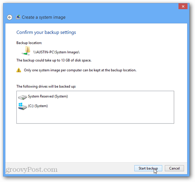 windows 8 start backup