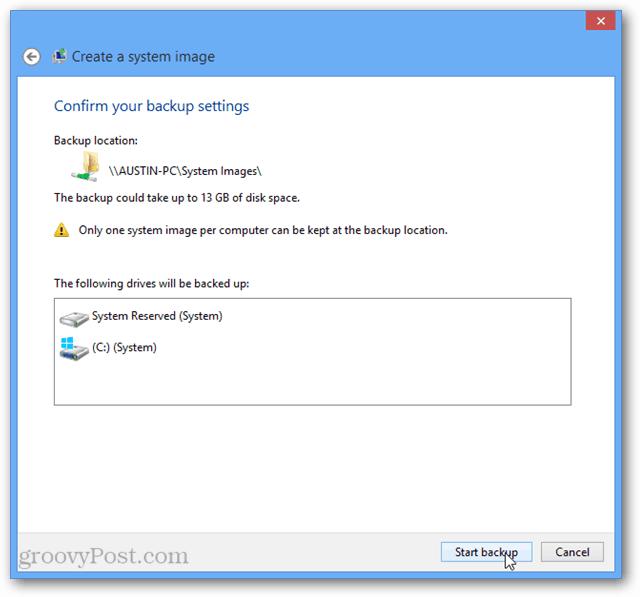 windows 8 start backup