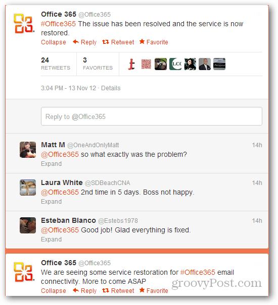 Office 365 outage tweet