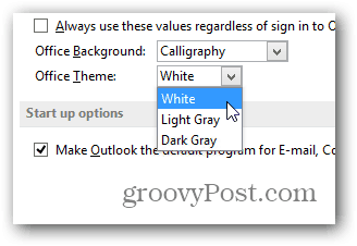 office 2013 change color theme - click color