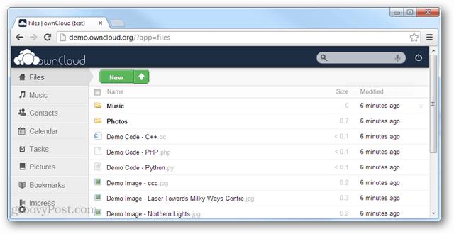 owncloud demo webapp