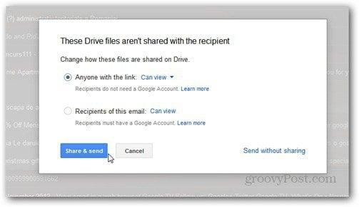 send using google drive rights