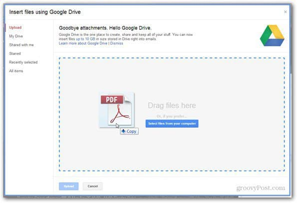 send using google drive select file