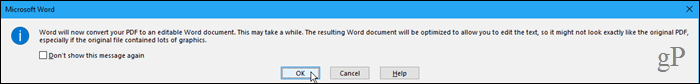Converting a PDF file to a Word file might take a while