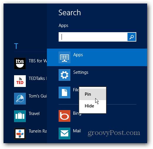 App Pin Windows 8